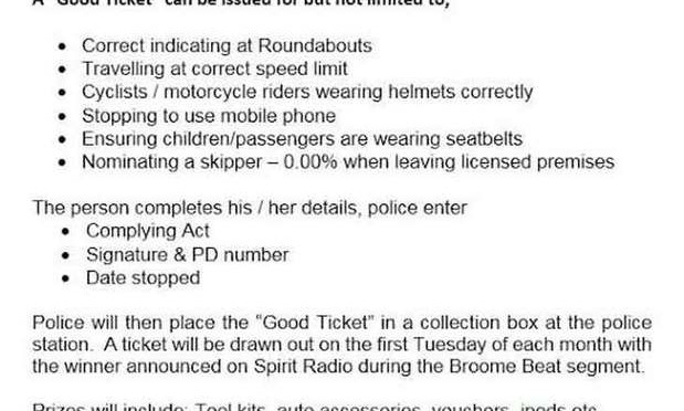 Broome Police Pull Over Drivers To Hand Out Tickets Recognising Good Driving