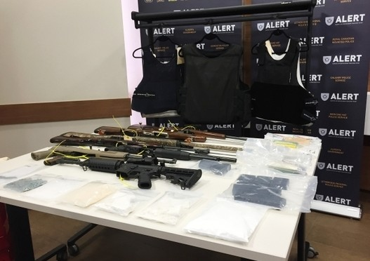 RCMP And Edmonton Police Display Guns, Drugs Seized In Bonnyville Bust