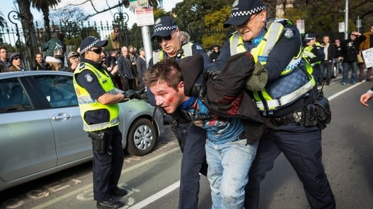 Victoria Police Hold The Line, Condemn Violence As Protesters Clash At Parliament House