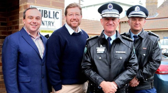 Minister for Police Troy Grant and Commissioner Andrew Scipione Visit Bowral Police Station