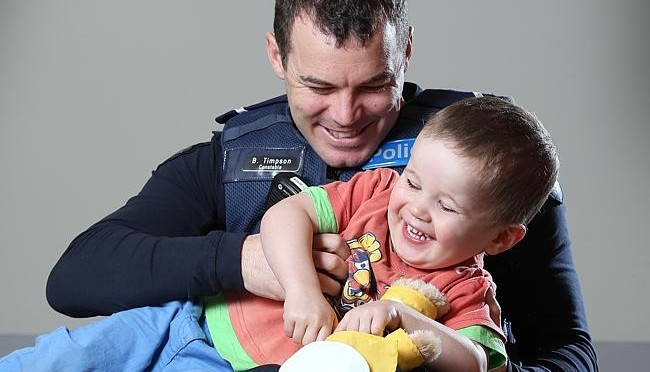 Toddler Reunited With Victorian Police Officer Captured Helping Him In Heartwarming Viral Photo
