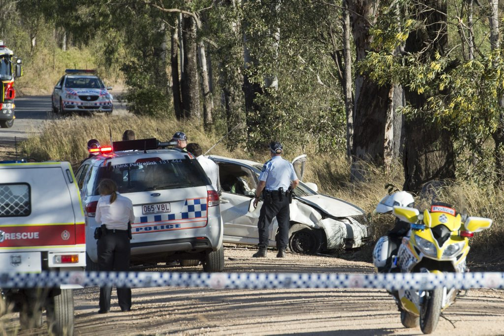 Police and emergency services attend a A serious crash on McDonalds Rd in the Lockyer Valley, Tuesday, August 4, 2015. Photo Kevin Farmer / The Chronicle
