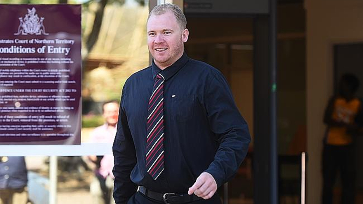 Leighton Robert Arnott walked from the Darwin Magistrates Court on Wednesday after two aggravated assault charges against him were dismissed.