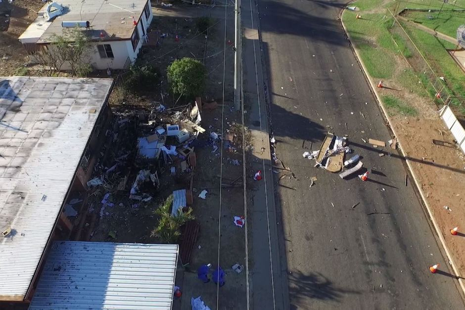 The extent of the damage caused by the fatal caravan explosion is captured by a police drone.