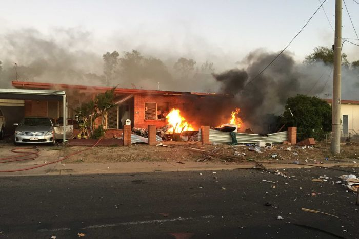 Police from Brisbane and Townsville flew to Mount Isa to investigate the caravan blast. Photo: Police via ABC News