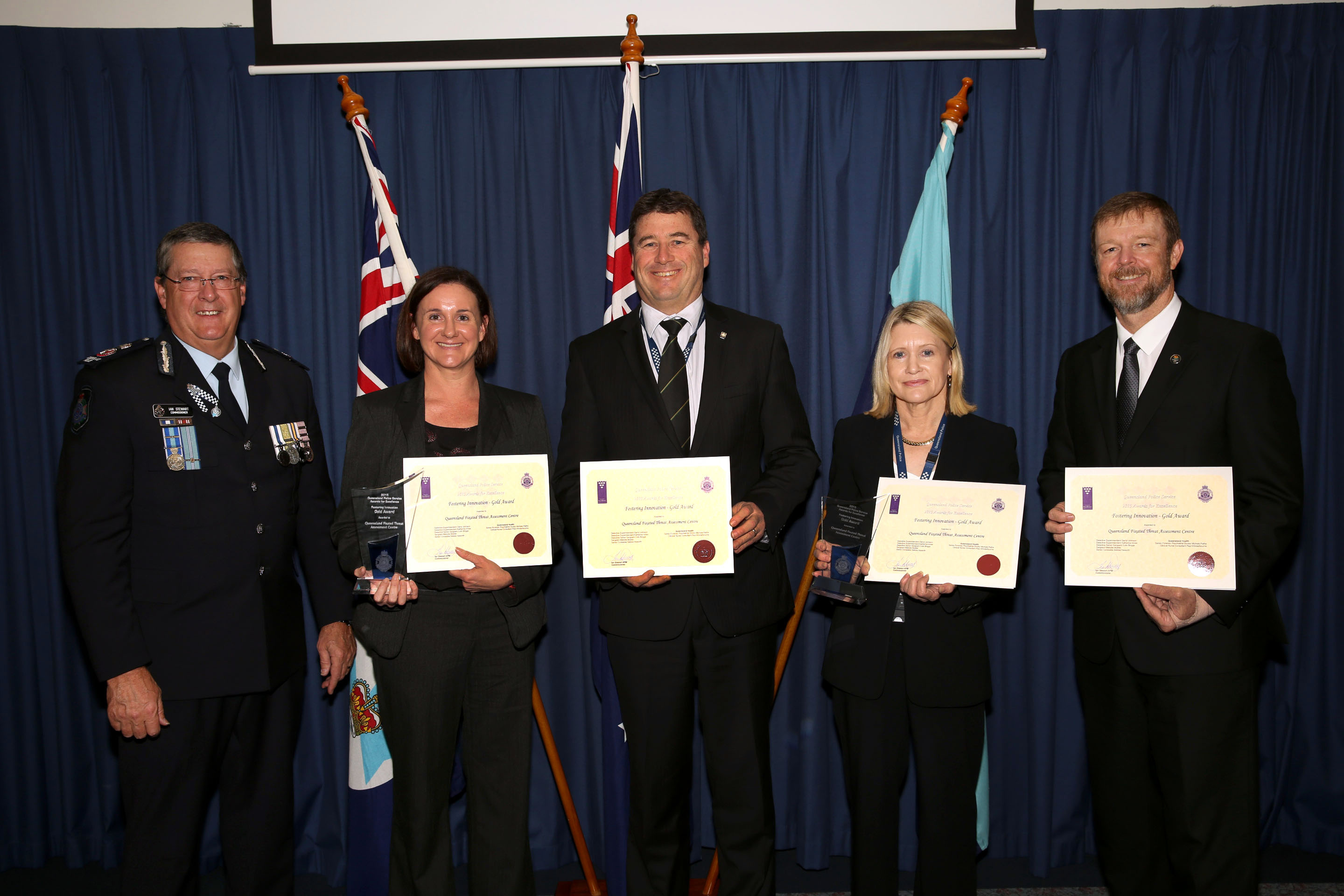 Queensland Fixated Threat Assessment Centre representatives were awarded Gold for the Fostering Innovation categor