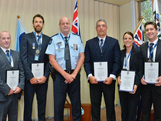 District officers certificate recipents DS Christopher Lindsay, DSC Matthew Columbus, Superintendent Ron Van Saane, SC Roger Hodgson, DSC Vicki Schultz and DSC Kurt Rabnott. Photo Mike Richards / The Observer