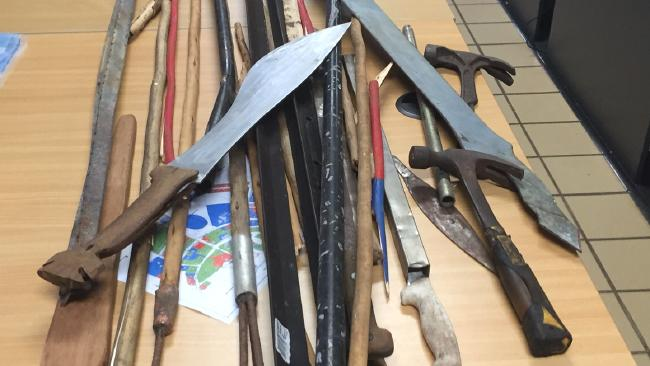 NT Police seized spears, machetes and hammers on Groote Eylandt on Saturday night.