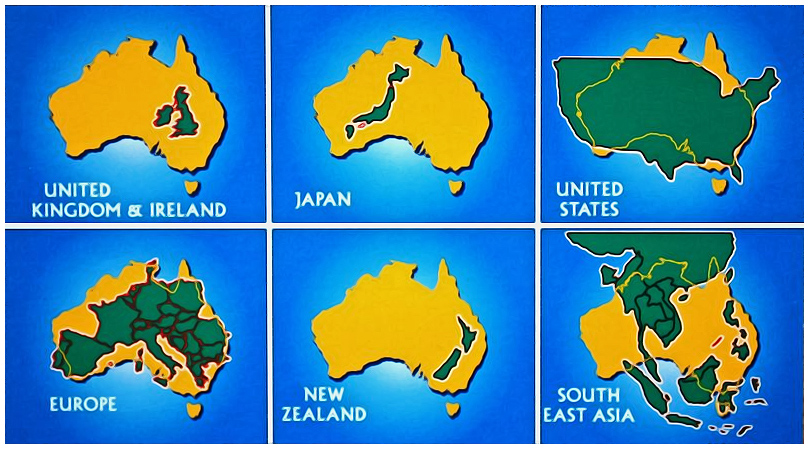 Comparing the area of Australia to other countries